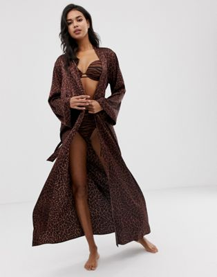 Image 1 of Savage x Fenty animal print satin long kimono robe in toffee leopard
