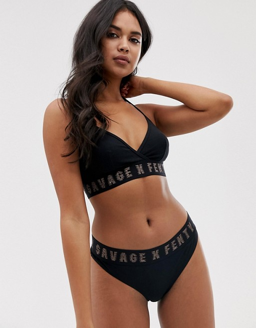 hot sales e85d8 2b16e Savage x Fenty cotton logo bralette in black