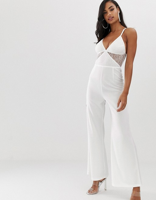 Scarlet Rocks lace detail jumpsuit in white