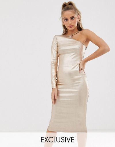 Scarlett Rocks one shoulder midi dress with hardware detail in gold metallic