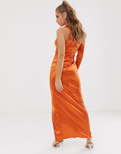 Scarlett Rocks one shoulder slash neck maxi dress with thigh split in rust