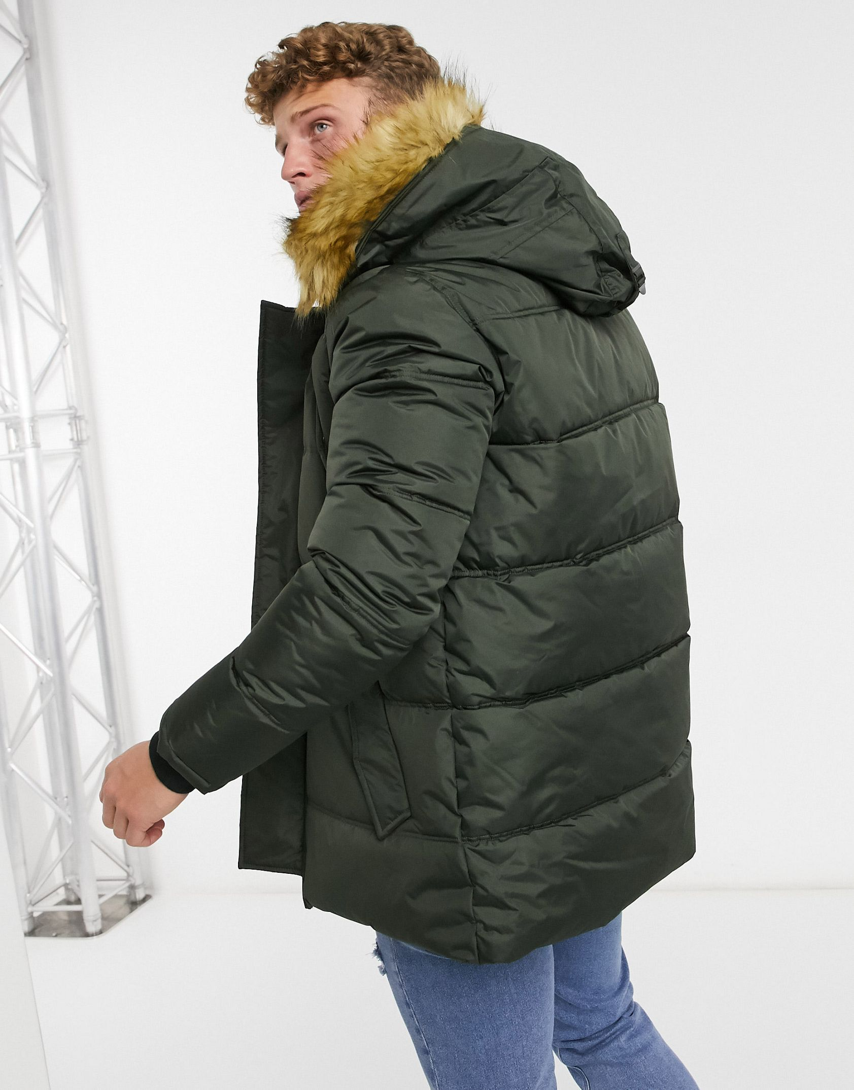 Schott Air hooded parka with detachable faux fur trim in khaki -  Price Checker