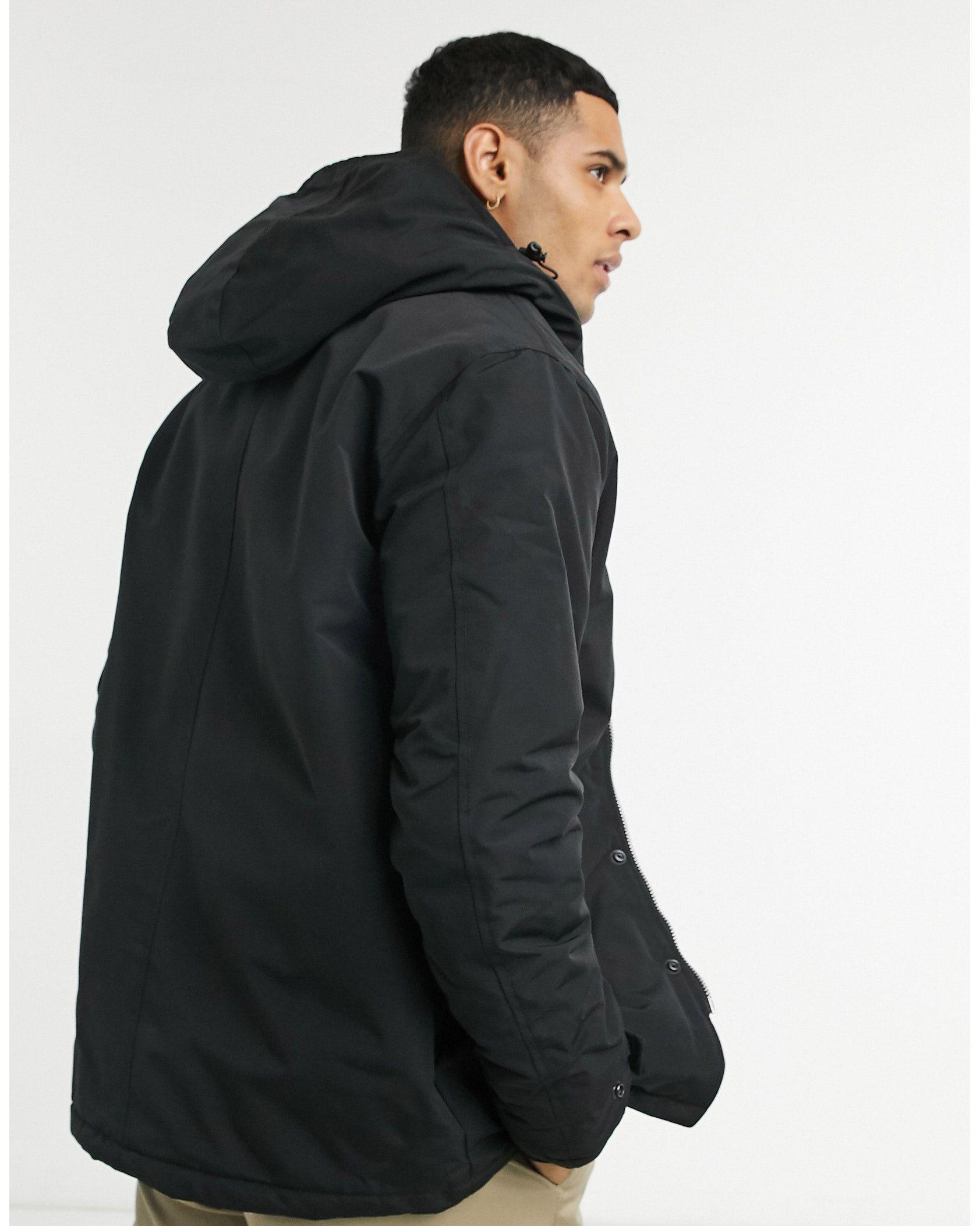Schott hooded parka jacket in black -  Price Checker