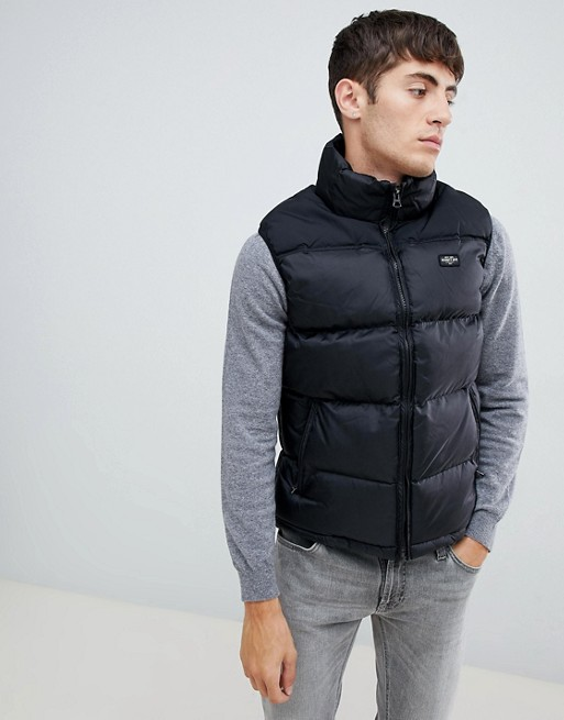 Schott nylon puffer vest in black