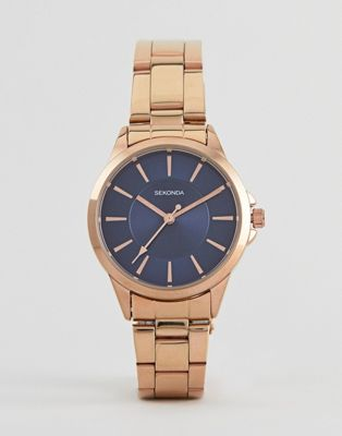 Sekonda 2457 bracelet watch with blue dial and rose gold case