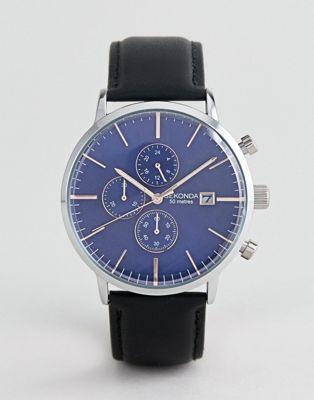 Bild 1 av Sekonda – Blå skinnklocka med kronograf – endast hos ASOS