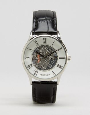 Image 1 of Sekonda Exposed Mechanical Skeleton Leather Watch In Black Exclusive To ASOS