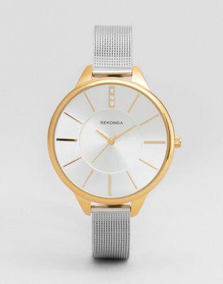 Sekonda - Montre avec bracelet en maille - Exclusivité ASOS - Argenté/doré