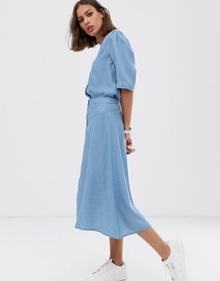 Selected Femme button through chambray midi skirt