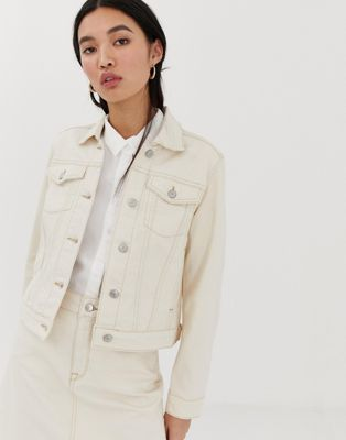 Selected Femme ecru denim jacket with contrast stitching