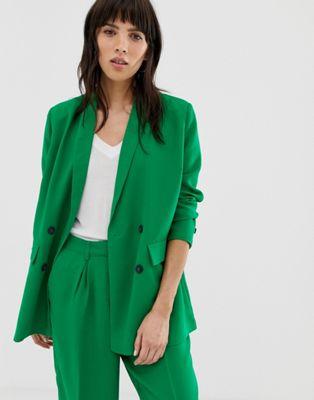 Selected Femme - Lange blazer met dubbele rij knopen