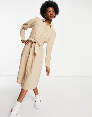 Selected Femme pleated midi dress in cream - ASOS Price Checker