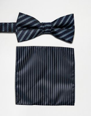 Image 1 of Selected Homme Bow Tie & Pocket Square Set