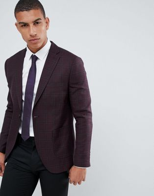 Image 1 of Selected Homme Check Blazer With Notch Lapel And Patch Pockets In Slim Fit
