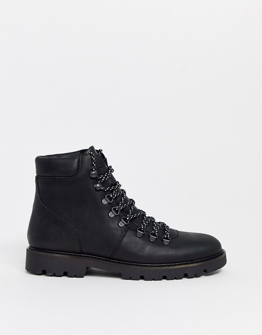Selected Homme Chunky Sole Hiker Boots In Black by Selected Homme