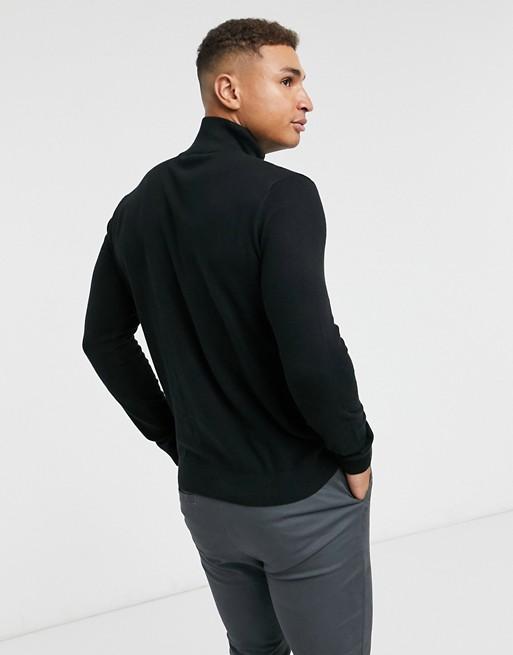 Selected Homme – Czarny sweter z krÓtkim zamkiem UETI