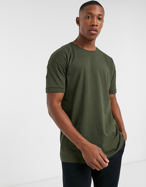 Selected Homme Drop Shoulder Oversized T Shirt In Khaki by Selected Homme