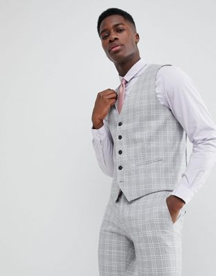 Bild 1 av Selected Homme – Grå/rutig kostymväst i skinny fit