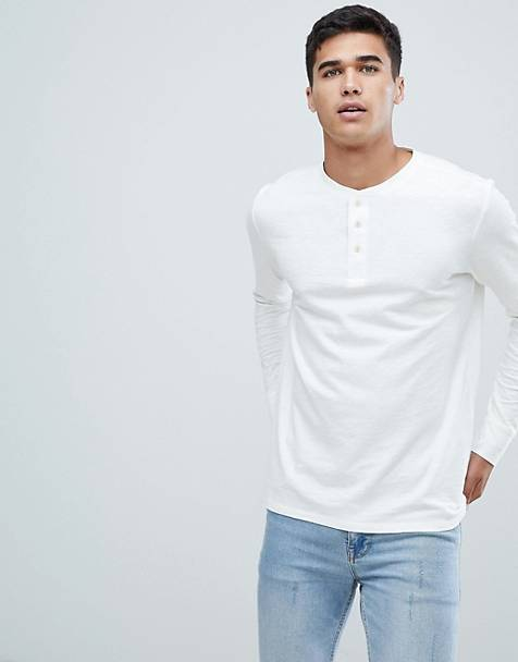 Selected Homme - Henley - Overdye T-shirt met lange mouwen in wit