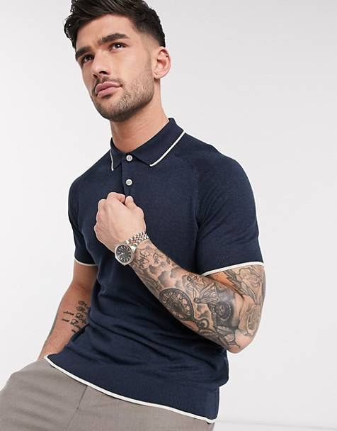 Selected Homme knitted polo in navy