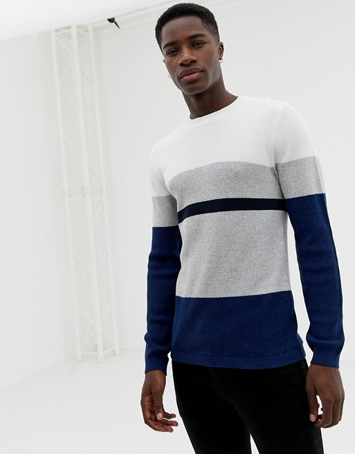 Selected Homme knitted sweater with block stripes