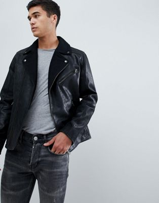 Selected Homme Leather Biker Jacket With Wool Lapel Detail