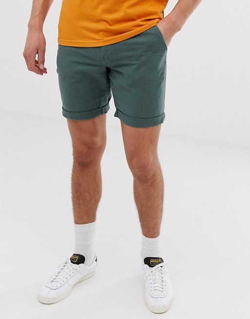 Image 1 of Selected Homme linen shorts in green