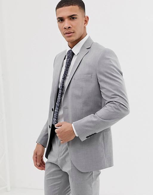 Selected Homme – Ljusgrå stretchig kavaj med smal passform, del av kostym