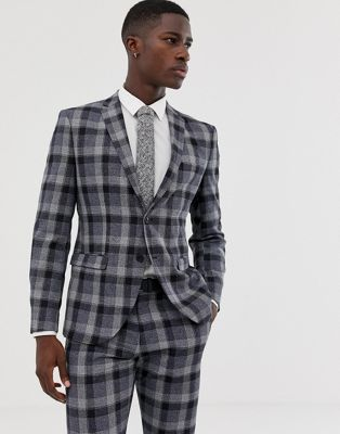 Image 1 of Selected Homme Navy Check Suit Jacket In Slim Fit