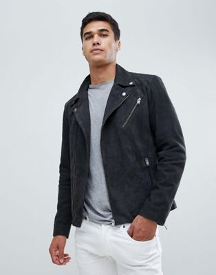 Selected Homme Nubuck Leather Biker Jacket