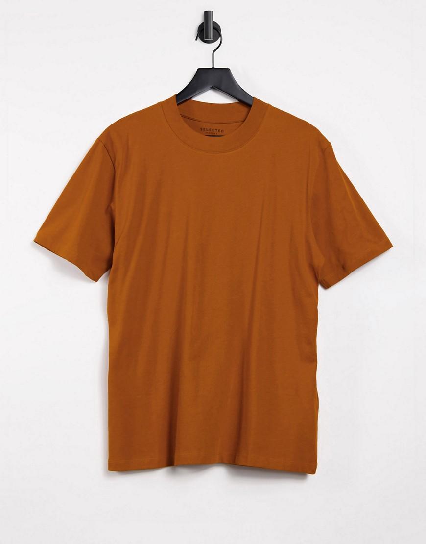 Selected Homme - Orange højhalset T-shirt