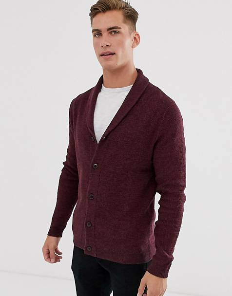 Selected Homme organic cotton knitted shawl cardigan in burgundy
