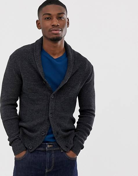 1f8e0eaa88848f Selected Homme organic cotton knitted shawl cardigan in dark grey