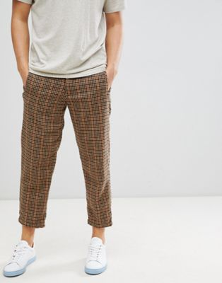 Immagine 1 di Selected Homme - Pantaloni in lana cropped stretti in fondo a quadri