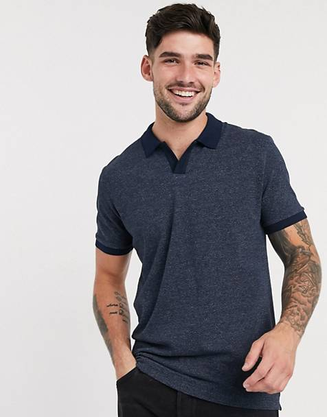 Selected Homme revere collar polo shirt in navy