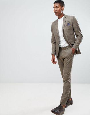 Selected Homme – Schmal geschnittene Anzughose in Braun kariert