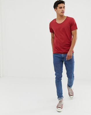 Selected Homme scoop neck rolled hem t-shirt in red
