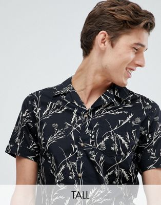 Image 1 of Selected Homme Short Sleeve Shirt With Revere Collar