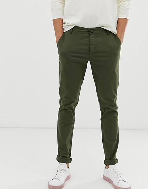 Selected Homme - Skinny-fit chino met stretch in khaki