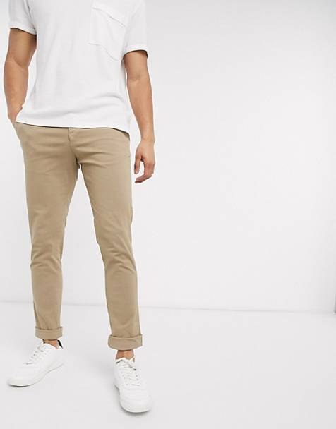 Selected Homme - Skinny-fit chino met stretch in zandkleur