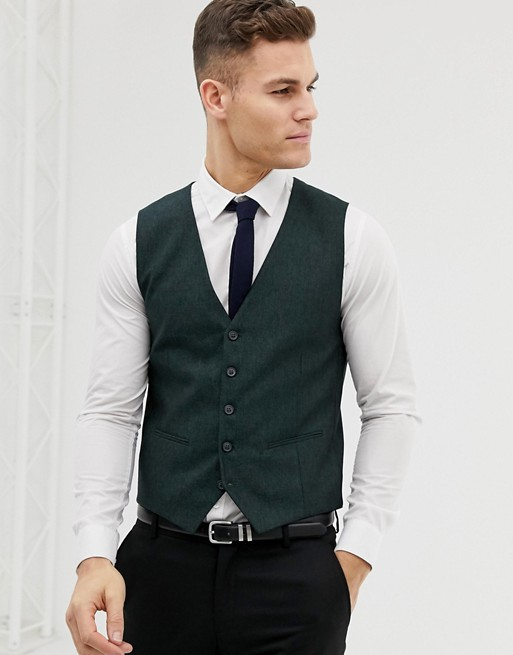 Image 1 of Selected Homme Skinny Vest In Forest Green