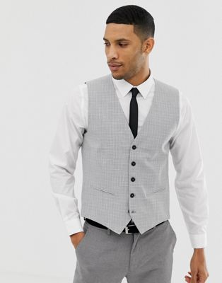Image 1 of Selected Homme Skinny Wedding Vest In Cross Hatch