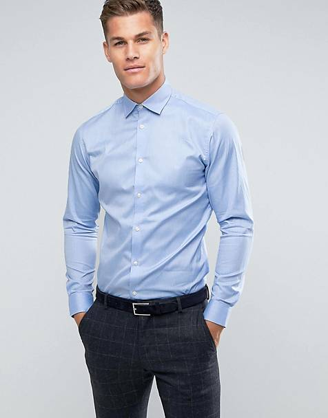 Selected Homme - Slim-fit kreukvrij net overhemd in lichtblauw