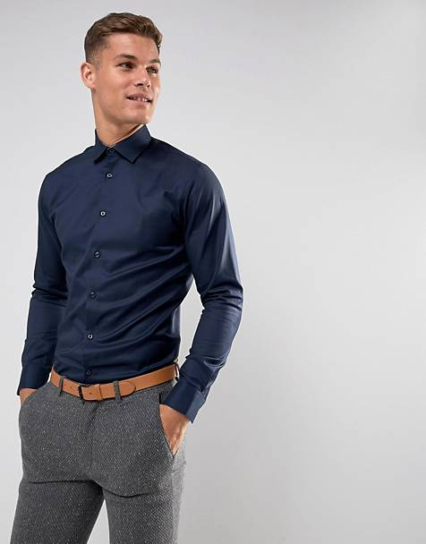 Selected Homme - Slim-fit kreukvrij net overhemd in marineblauw
