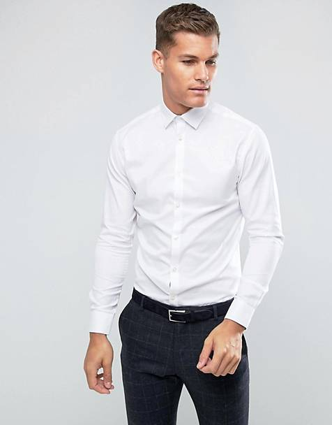 Selected Homme - Slim-fit kreukvrij net overhemd in wit