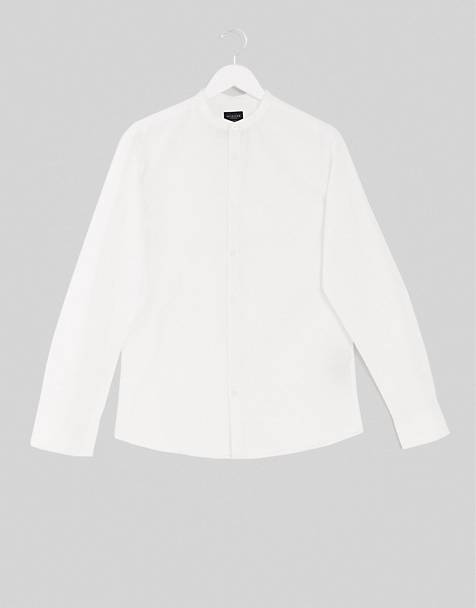 Selected Homme slim fit linen mix shirt with grandad collar in white