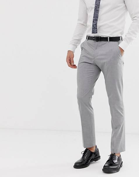 Selected Homme - Slim-fit pantalon met stretch in lichtgrijs