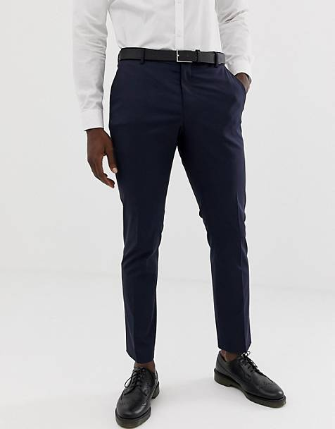 Selected Homme - Slim-fit pantalon met stretch in marineblauw