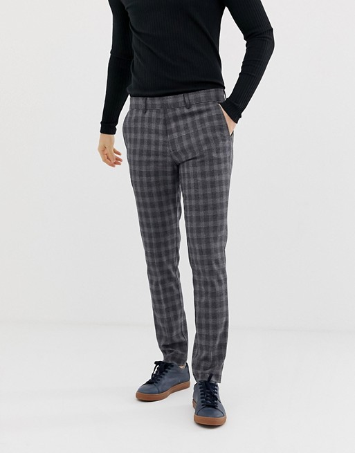 Image 1 of Selected Homme slim fit smart check pants