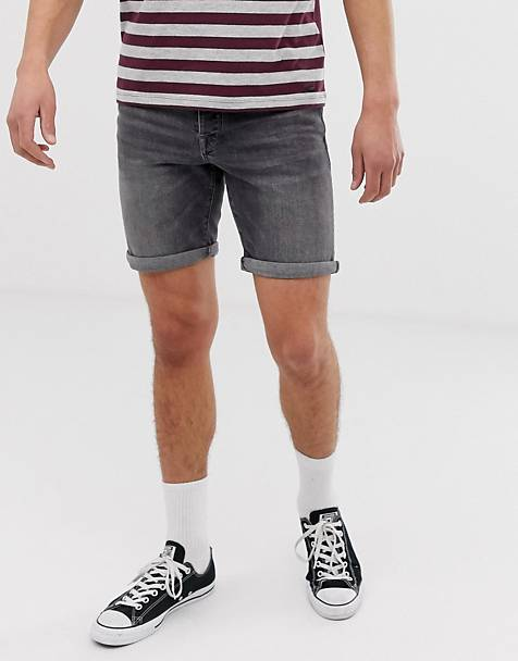 Selected Homme - Smal denim short in grijs met wassing